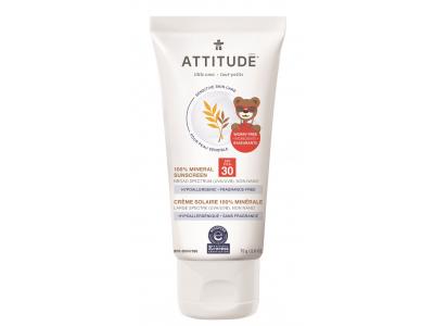 ATTITUDE Dětský opalovací krém (SPF 30) pro citlivou a atopickou pokožku bez vůně 75 g