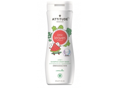 ATTITUDE Dětské tělové mýdlo a šampon (2 v 1) ATTITUDE Little leaves s vůní melounu a kokosu 473 ml