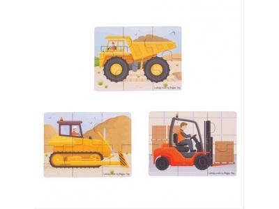 Bigjigs Toys puzzle 3v1 - stavební stroje