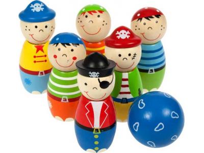 Bigjigs Toys Dřevěné kuželky Piráti