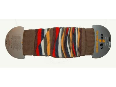 Design Socks Návleky na nožky - hnědočervené pruhy
