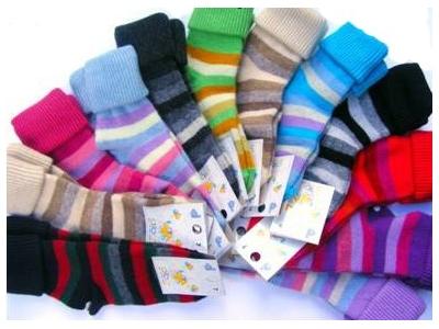 Diba Vlněné dětské ponožky pruhované - vel. 0 (0-6m)