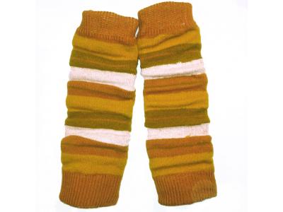 Diba Vlněné návleky na nožičky - žluto rezavé pruhy