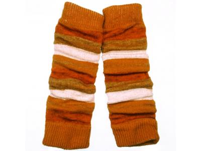Diba Vlněné návleky na nožičky - oranžovo rezavé pruhy