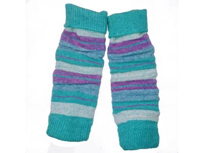 Diba Vlněné návleky na nožičky - tyrkysové lila pruhy