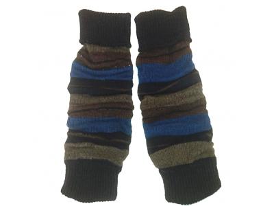 Diba Vlněné návleky na nožičky - hnědo modré pruhy