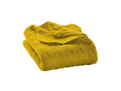 Disana Pletená dětská deka z merino vlny - curry