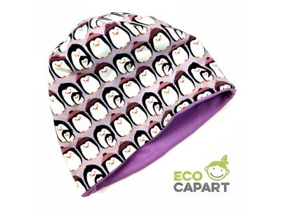 Eco Capart Dětská čepice dvojitá z BIO bavlny - Tučňáci lila
