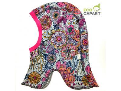 Eco Capart Dětská čepice kukla z BIO bavlny, tenká - Jiřinková