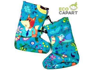 Eco Capart Softshellové botičky s MERINO vlnou - Lesní party, tyrkys