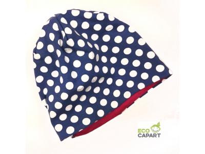 Eco Capart Dětská čepice MERINO - Polka Blue
