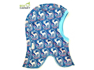 Eco Capart Dětská čepice kukla z BIO bavlny - Srnečky