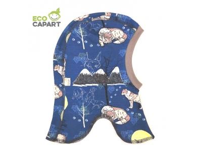 Eco Capart Dětská čepice kukla z BIO bavlny - Vlk samotář