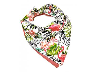 Eco Capart Oboustranný šátek slintáček - Zebry a plameňáci
