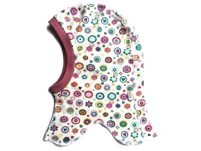 Eco Capart Dětská čepice kukla z BIO bavlny - Něžné kvítí
