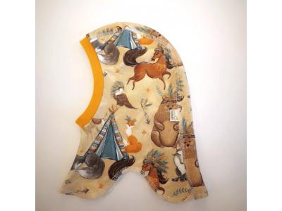 Eco Capart Dětská čepice kukla z bavlny, tenká - Totemová zvířata