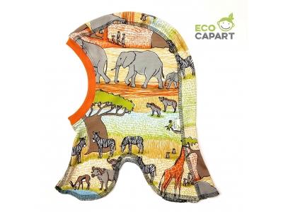 Eco Capart Dětská čepice kukla z BIO bavlny, tenká - Safari