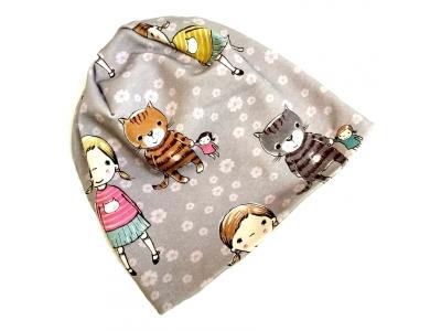 Eco Capart Dětská čepice MERINO - Kočky a Zuzanka