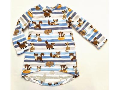 Eco Capart Dětské šaty / tunika z bavlny - Kočky s modrými pruhy