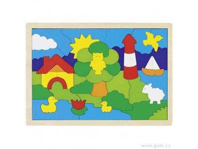 Goki Dřevěné puzzle na desce – Maják