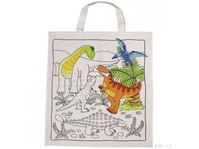 Goki Bavlněná taška k vymalování – Dinosauři