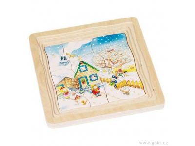 Goki Vrstvené puzzle ze dřeva, 4 vrstvy, 54 díly - Roční období