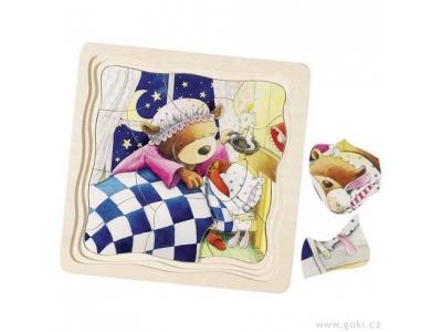 Goki Vrstvené puzzle ze dřeva, 4 vrstvy, 55 dílů - Medvídek