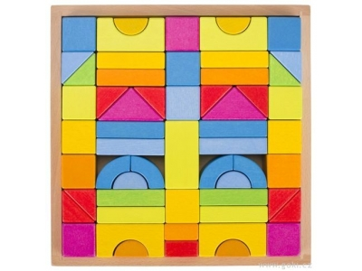 Goki Stavební kostky - Duhové barvy, 57 dílů