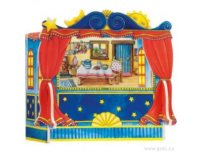 Goki Dřevěné divadlo pro prstové maňásky včetně kulis