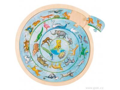 Goki Kulaté puzzle na desce – Zvířátka