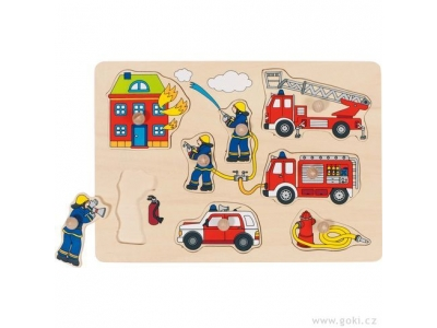 Goki Puzzle s dřevěnými úchytkami – hasiči, 8 dílů