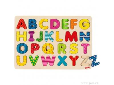 Goki Dřevěné puzzle na desce – Abeceda II, 26 dílů
