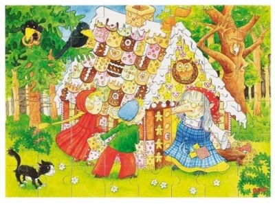 Goki Dřevěné puzzle Perníková chaloupka, 48 dílků