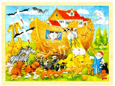 Goki Dřevěné puzzle Noemova archa, 96 dílů