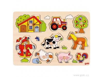 Goki Puzzle s dřevěnými úchytkami – Zvířata na statku IV