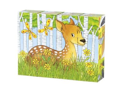 Goki  Kostky s obrázky - Lesní zvířátka, 12 dílů