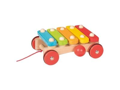 Goki Xylofon na kolečkách – tahací hračka na provázku