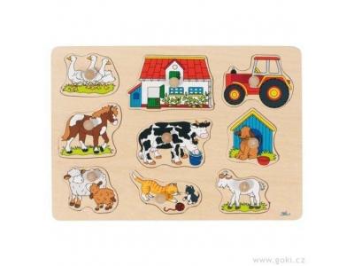 Goki Puzzle s dřevěnými úchytkami – Zvířata na statku II
