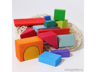 Grimm´s Dřevěná barevná stavebnice geometrické tvary, 30 kostek