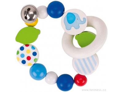 Heimess Modré slůně s rolničkou - dřevěná hračka pro miminka