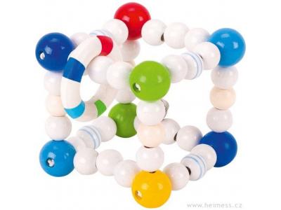 Heimess Modrá kostka s kroužky - dřevěná hračka pro miminka