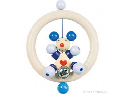 Heimess Kroužek s modrou myškou - dřevěná hračka pro miminka