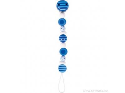 Heimess dřevěná šňůra na dudlík - modré perličky