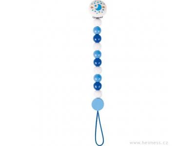 Heimess dřevěná šňůra na dudlík - modrá s měsícem