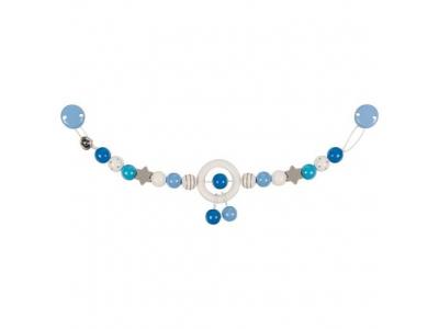 Heimess Dřevěný řetěz do kočárku - Modrá a šedá