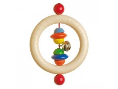 Heimess Dřevěná hračka pro miminka - Půlkorále s rolničkou