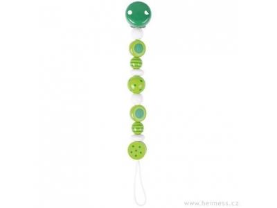 Heimess dřevěná šňůra na dudlík - zelené perličky