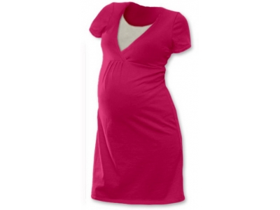 Jožánek Těhotenská a kojící noční košile (krátký rukáv) - sytě růžová
