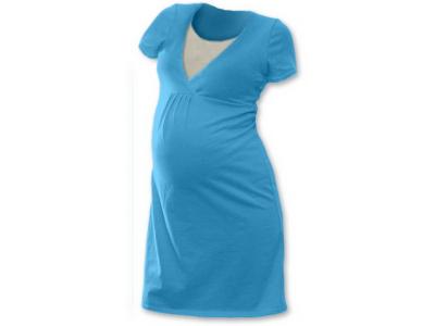 Jožánek Těhotenská a kojící noční košile (krátký rukáv) - světlý tyrkys