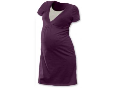 Jožánek Těhotenská a kojící noční košile (krátký rukáv) - švestková